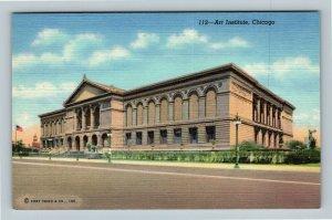Chicago IL, The Art Institute, Ferguson Fountain, Linen Illinois Postcard