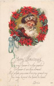 F24/ Santa Claus Merry Christmas Postcard c1922 Purple Hat 8