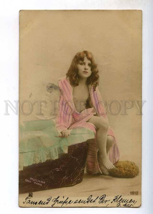 244131 NUDE Girl LONG HAIR near BATH Vintage REUTLINGER