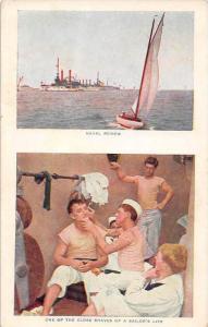 2  view card - Naval Review of Ships, Sailors Shaving