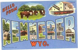 Hello from KEMMERER, Wyoming, WT, Large Letters Linen