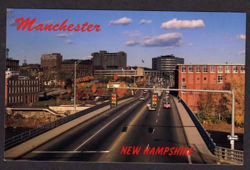 NH-Elm St Street View MANCHESTER NEW HAMPSHIRE POSTCARD