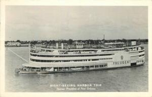 California 1949 Sight Seeing Harbor Trip Steamer President RPPC 9903 postcard