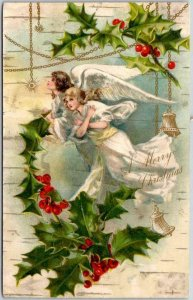 Vintage CHRISTMAS Greetings Postcard Flying ANGEL Girls / Holly 1909 CA Cancel