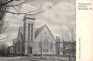 Scottdale Pennsylvania Presbyterian Church Street View Antique Postcard K53209