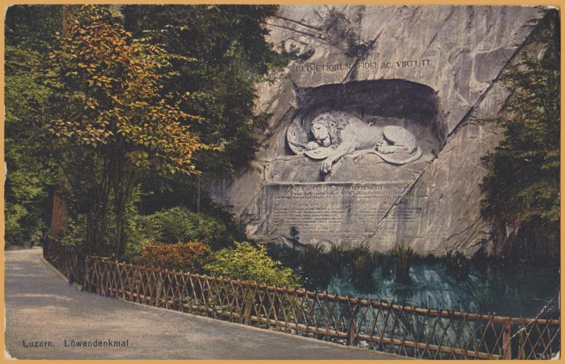 Lucerne, Switzerland-Lowendenkmal-The Lion Monument, or the Lion of Lucerne 1927