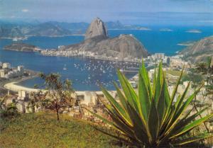 Brazil Brasil Rio de Janeiro Panoramic view of Botafogo Bay Pao  Acucar Rock