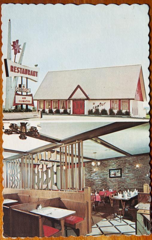 Le Camtor Restaurant Donnacona Quebec QC Interior Multiview Vintage Postcard E14