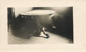 Old Table, Fancy Legs~Doily, Diamond Carpet Design~Real Photo Postcard