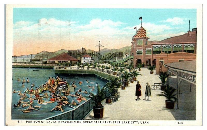 1937 Saltair Pavilion on Great Salt Lake, Salt Lake City, UT Postcard *4X