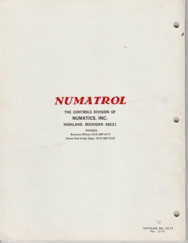 Vintage Numatrol Components Catalog 71, Midwest Fluid Power Co