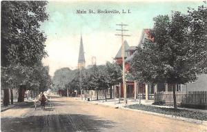 Hecksville L. I. NY Dirt Main Street Church Horse & Wagon Postcard