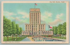 Houston Texas~City Hall~Central Position in Civic Center~1938~Linen Postcard
