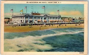 Asbury Park, New Jersey Postcard Natatorium & Beach Metrocraft Linen 1938