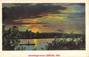 Leslie Maryland Sunset Waterfront Greeting Antique Postcard K86765