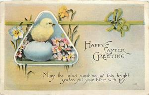Happy Easter Greetings baby chick and egg Postcard pm 1924