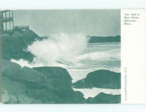 Unused Pre-1907 POUNDING SURF AT BASS ROCKS Gloucester Massachusetts MA n5069