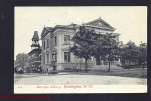 HUNTINGTON WEST VIRGINIA CARNEGIE LIBRARY ANTIQUE VINTAGE POSTCARD 1908