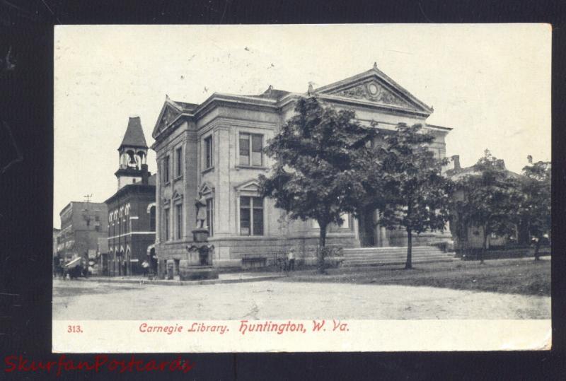 HUNTINGTON WEST VIRGINIA CARNEGIE LIBRARY ANTIQUE VINTAGE POSTCARD 1908