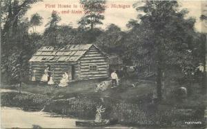 1908 Owosso Michigan First House Main Streets Fair postcard 3129