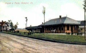 Depot and Park, Bristol, Connecticut CT, USA Railroad Train Depot Unused
