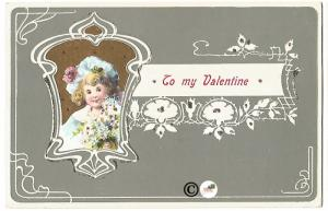 Old Fashioned Valentine Postcard Sage Green Design & Little Girl with Flowers