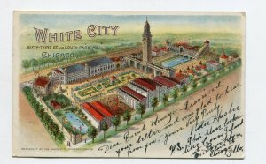 Vintage Postcard  CHICAGO WHITE CITY  Birds Eye View Private Mailing Cd 1905 UDB