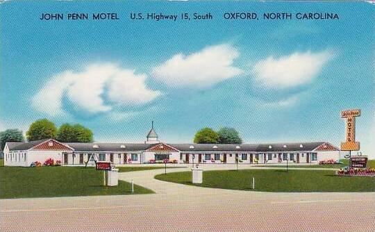 North Carolina Oxford John Penn Motel