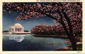 Washington D C Cherry Blossoms and Thomas Jefferson Memoprial At Night Curteich
