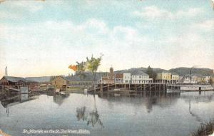 St Maries Idaho St Joe River Waterfront Antique Postcard K98880