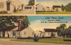 Osceola Iowa Elms Plaza Motel Multiview Antique Postcard K54708