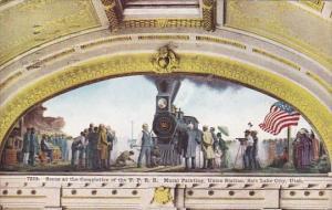Utah Salt Lake City Scene At The Completion Of The U P Rail Road Mural Painti...