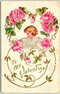 Vintage VALENTINE'S DAY Embossed Postcard Girl / Pink Roses - 1908 Cancel