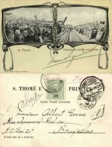 São Tomé and Príncipe, Chegada de Canôas Pescadoras, Fishing (1906) Stamp