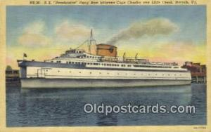 SS Pocahontas, Norfolk, Virginia, VA USA Ferry Ship Postcard Post Card  SS Po...