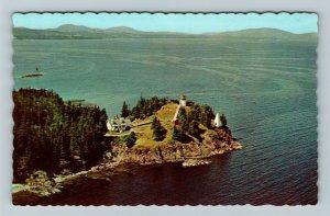 Owl's Head ME-Maine, Owl's Head Lighthouse, Chrome Postcard