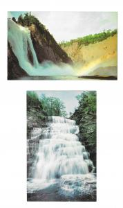2 Waterfall Postcards Hector Falls New York Montmorency Falls Canada