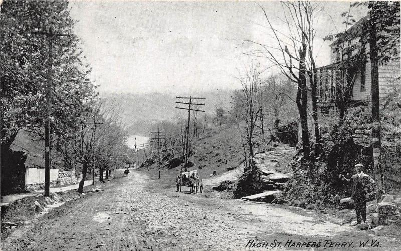 E33/ Harpers Ferry West Virginia WV Postcard c1910 High Street Home Wagon