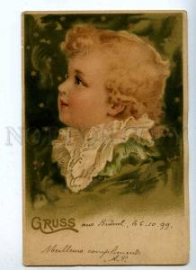 188074 Little Angel Kid GRUSS X-mas Vintage LITHO 1899 year