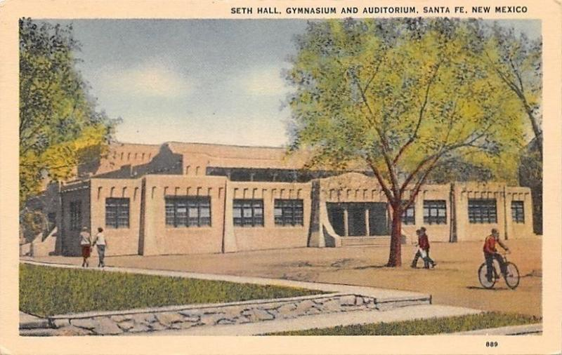Santa Fe NM~Bicycle at Seth Hall~Gymnasium and Auditorium~1940s