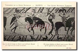 Old Postcard Tapestry of Queen Mathilde Bayeux troop leader in short preventi...