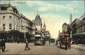 Melbourne Australia Swanston St. Trolley Used c1910 Postcard
