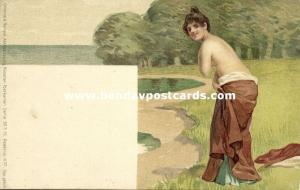 Beautiful Nude Girl on the Beach, Grimme & Hempel Art Series 503 No. 37 (1899)