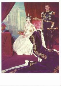 Queen Elizabeth II 1953 Coronation Portrait Repro Postcard #2