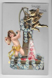 Valentine Cupid Gold Metal Add-On Vintage Embossed Postcard