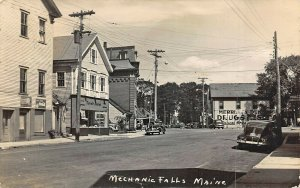 Mechanic Falls ME Storefronts Morrel's Market Old Cars Real Photo Postcard