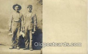 Cement & Brick Workers Real Photo People Working writing on back