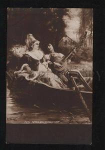 052793 Lovers in Boat w/ MANDOLIN by DETTI vintage