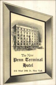 New York City Penn Terminal Hotel West 34th St. Postcard