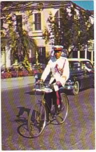 Bahamas Nassau White-Uniformed Constable Policeman On Bicycle
